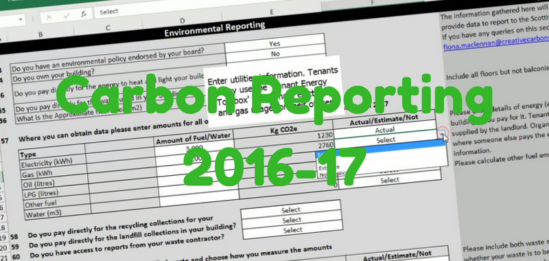 Carbon Reporting 2016-17 due 29th September