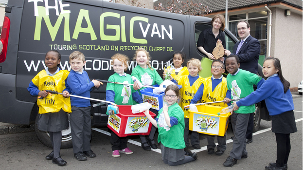 Eco Drama's magic van with a group of kids