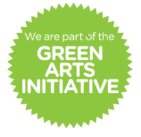 spiky green circle with the text 'We are part of the Green Arts Initiative' inside it