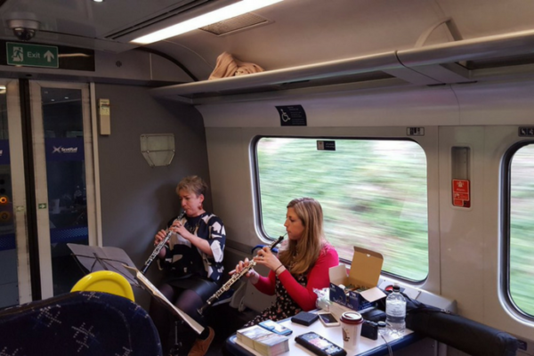 McOpera Oboe Duo playing on the Borders Railway