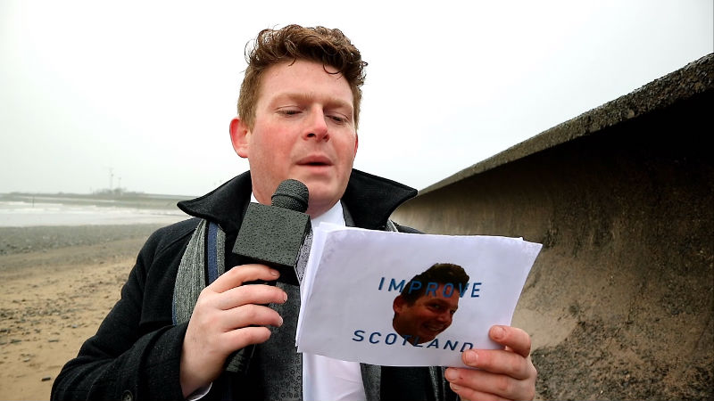 Chris Peacock Reporter at the seaside in Levenmouth