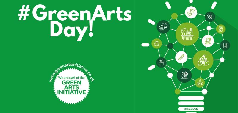 #GreenArts Day! Green Arts Initiative logo and lightbulb