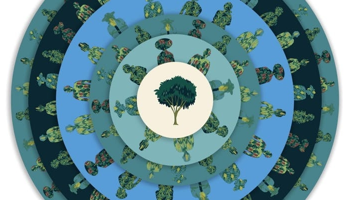 Circular, mandala-style graphic in greens and blues with a tree in the centre