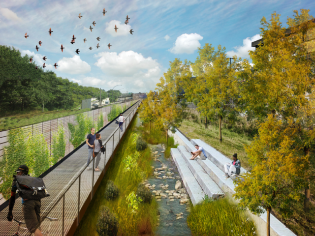 An artist's impression of the daylighting plans for Tibbett's Brook