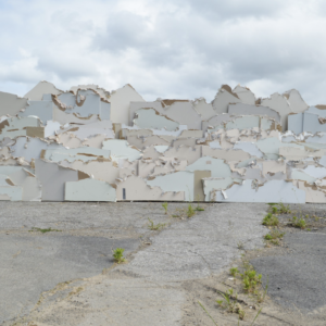 A collection of artfully arranged white pieces of chipboard