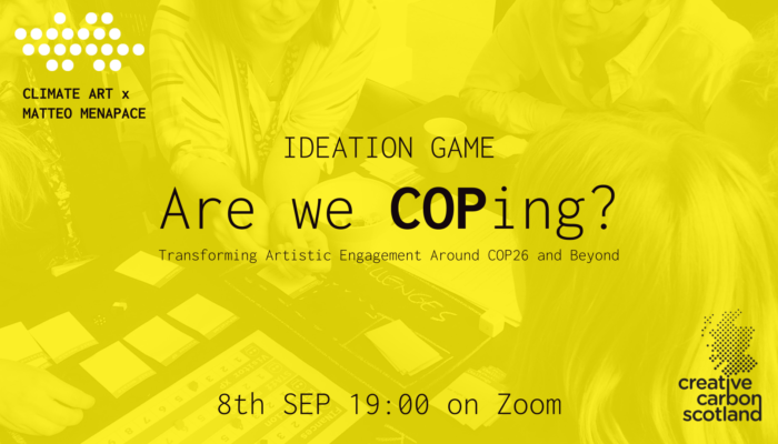A knocked back image of people at a table playing a game. Has a yellow filter. Text for the event overlaid.