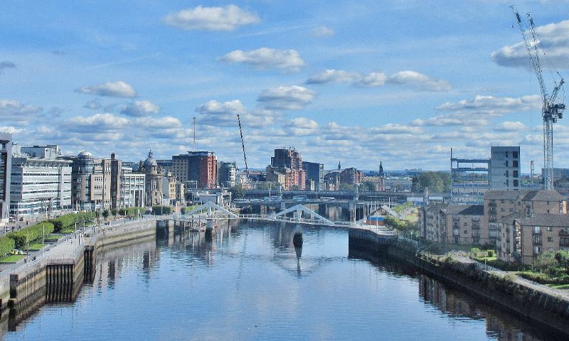 View of the city looking down the Clyde. Photo by Adam Marikar on unsplash.