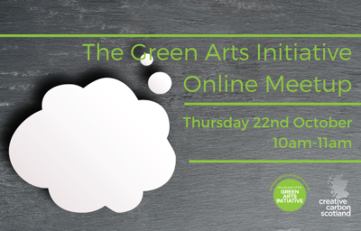 Graphic designed flyer for Green Arts October 2020 meetup