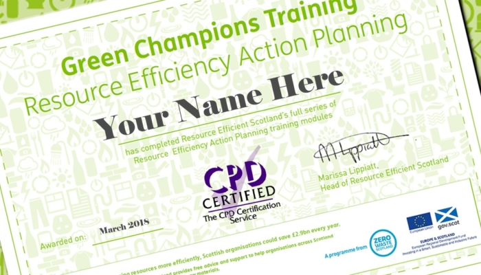 Certificate showing 'Green Champions Training' for 'Resource Efficiency Action Planning' in green text