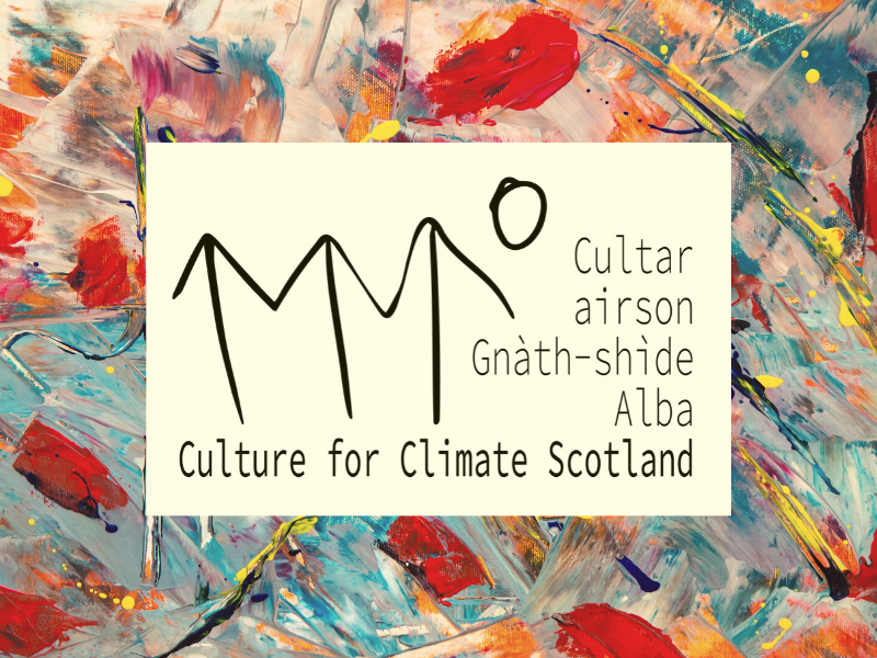 Culture for Climate logo surrounded by image with colourful paint strokes