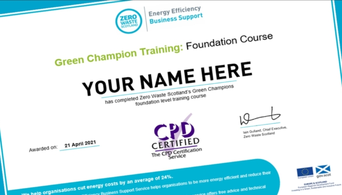 Green Champion training course certificate